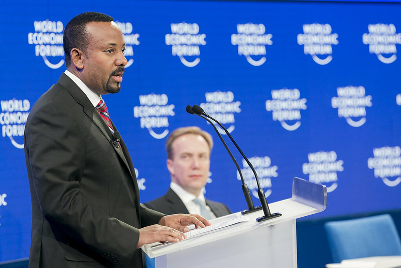 Prime Minister Abiy Ahmed at the Annual Meeting 2019 of the World Economic Forum in Davos; January 23, 2019; Photo by World Economic Forum / Benedikt von Loebell